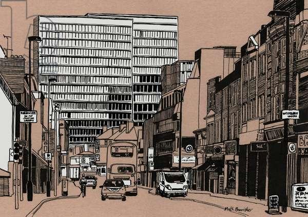 South End - Croydon, 2016 (acrylic ink on board)