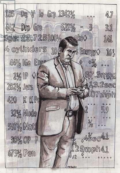Smartphone Man, 2012, (acrylic, gouache, ink on paper)