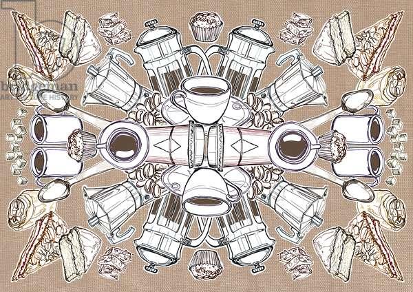 Coffee and Cake, 2014, (pencil, digital)
