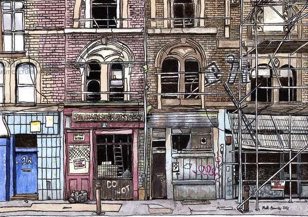 Vallance Road, E1, 2014, (oil, watercolour, acrylic on paper)