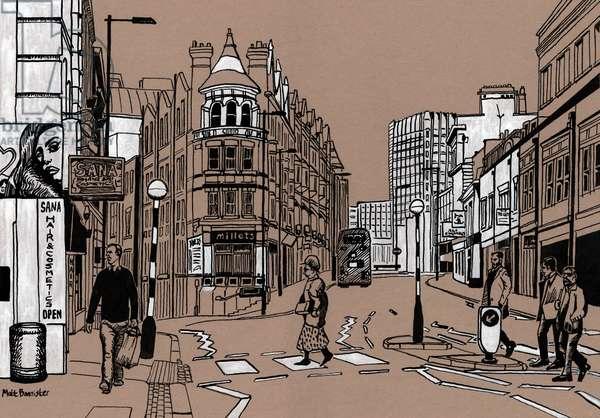 Croydon High Street, 2016, (acrylic ink on board)