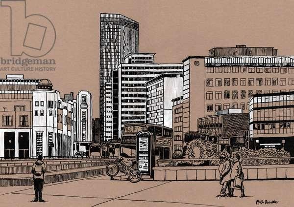 Wellesley Road - Croydon, 2016 (acrylic ink on board)