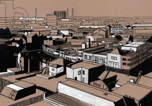 Croydon View, 2016 (acrylic ink on board)