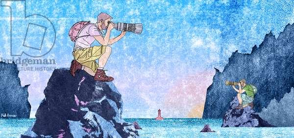 The Rockhoppers, 2015, (digital, pencil, linocut)