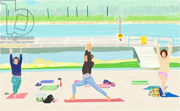 The Pilates/Yoga Class, 2020 (Digital Painting | Triptych)
