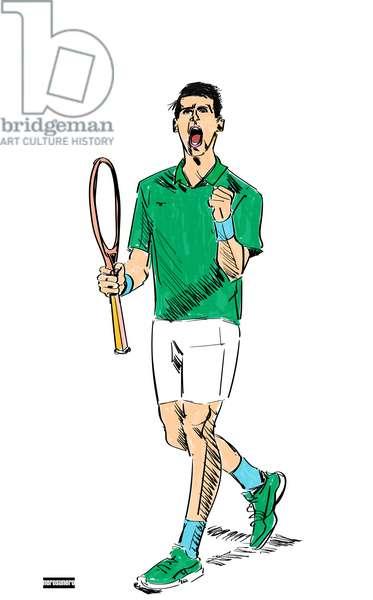 Novak Djokovic, 2021, Colored inks on paper