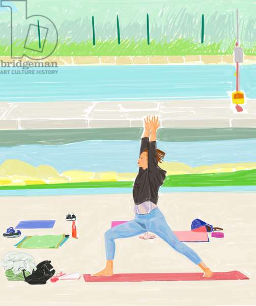 The Pilates/Yoga Class, 2020 (Digital Painting | Triptych Central Panel)
