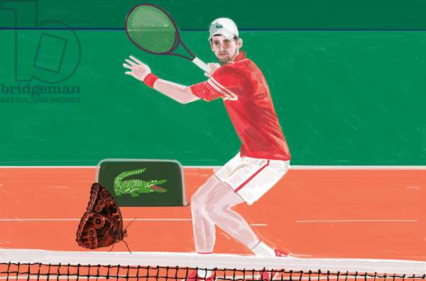 Djokovic: the crocodile & the butterfly, Mixed Media, 2021