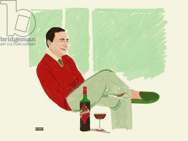 Mario Draghi (the civil servant), 2021 (digital painting)