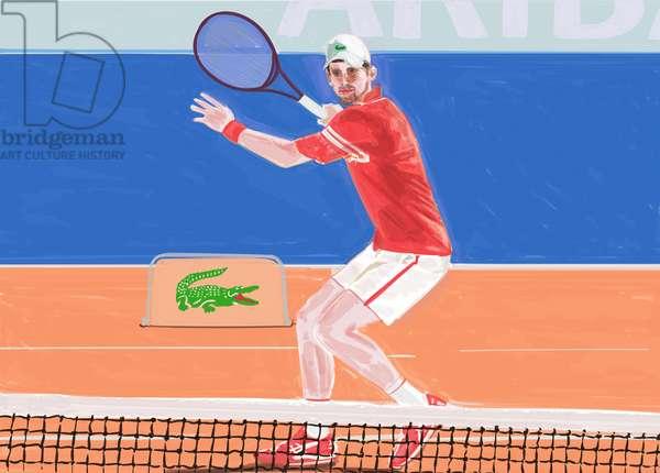 Djokovic: the net, 2021 (mixed media)