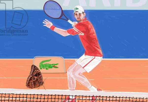 Djokovic: the crocodile & the butterfly, 2021 (mixed media)