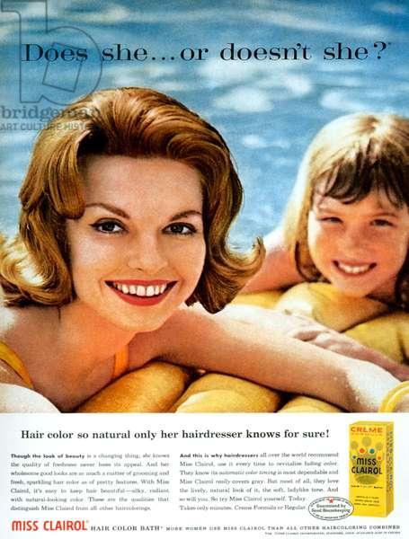 Clairol Magazine Advert, 1960s (colour litho)