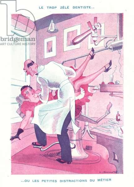 Le trop zele dentiste, illustration from 'Le Sourire', 1920s (colour litho)