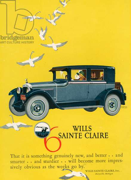 Wills Sainte Claire Magazine Advert, 1925 (colour litho)