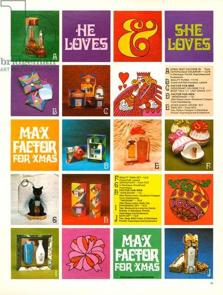 Max Factor Magazine Advert, 1960s (colour litho)