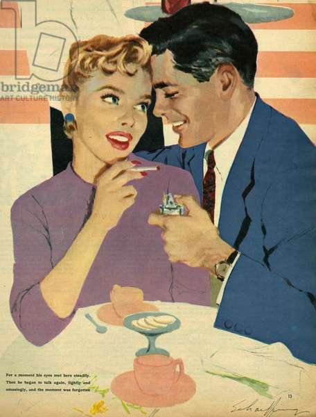 Illustration from magazine, 1958 (colour litho)
