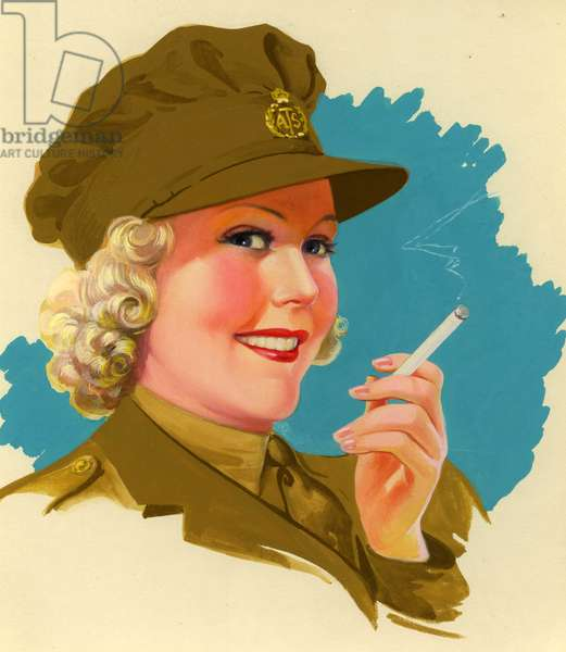 Woman in ATS uniform, 1940s (colour litho)