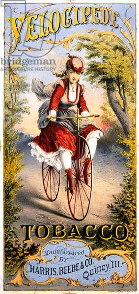 Velocipede tobacco magazine advert, 1870s (colour litho)