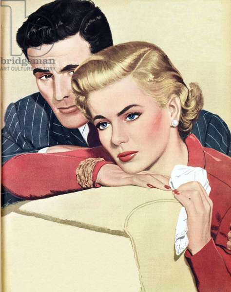 Illustration from a women's magazine, 1951 (colour litho)