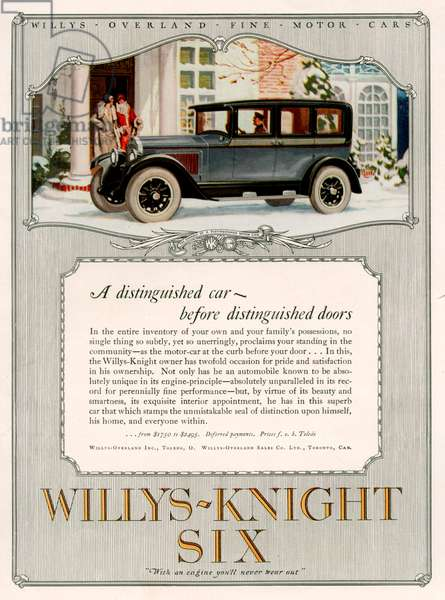 Willys-Knight Six Magazine Advert, 1926 (colour litho)