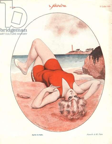 Apres le bain, illustration from 'Le Sourire', July 1929 (colour litho)