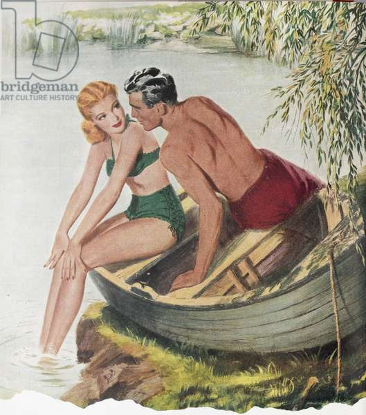 Illustration from 'Woman's Journal' magazine, 1950 (colour litho)