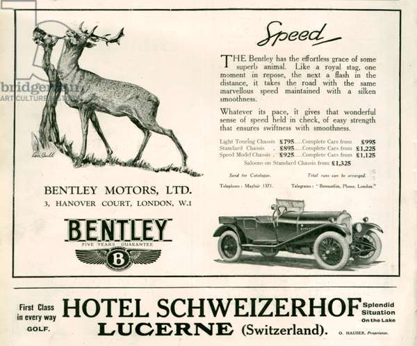 Bentley Magazine Advert, 1926 (litho)