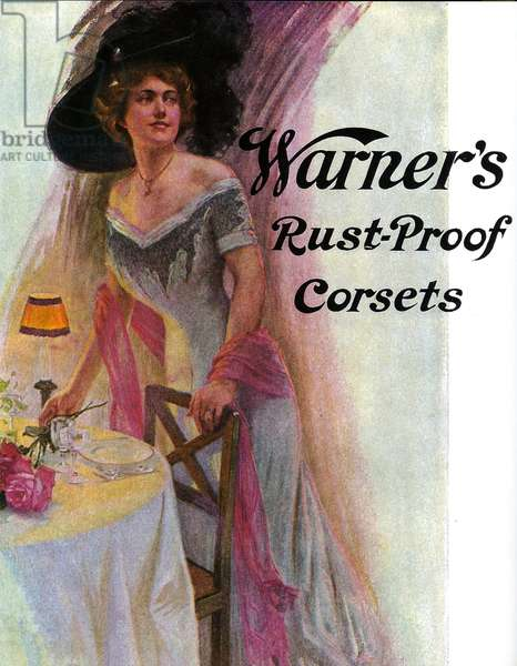 Detail of a magazine advert for Warner's Rust-Proof Corsets, 1910s (colour litho)