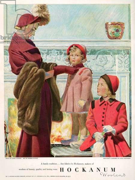 Hockanum Woolens Magazine Advert, 1940s (colour litho)