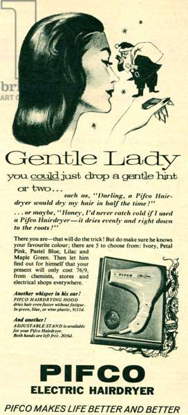 Magazine advert for Pifco Electric Hairdryer, 1958 (litho)