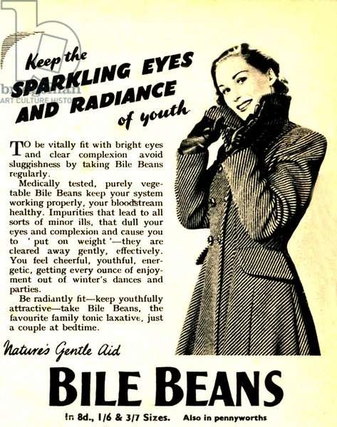 Advertisement for 'Bile Beans, 1950s (litho)