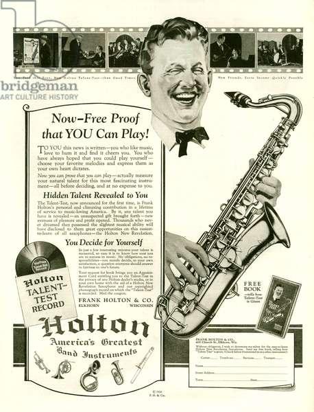 Holton Magazine Advert, 1924 (litho)