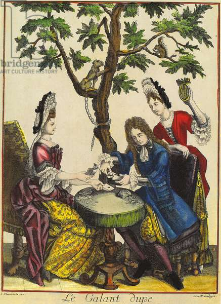 The Gallant Dupe, engraved by Theodorus Danckerts (1663-1727), 1715 (hand-coloured engraving)