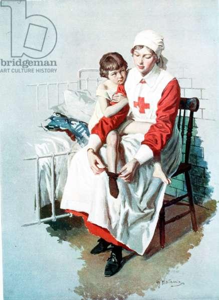 Nurse and child, 1920s (colour litho)