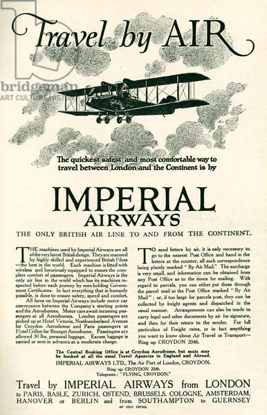 Imperial Airways Magazine Advert, 1924 (litho)