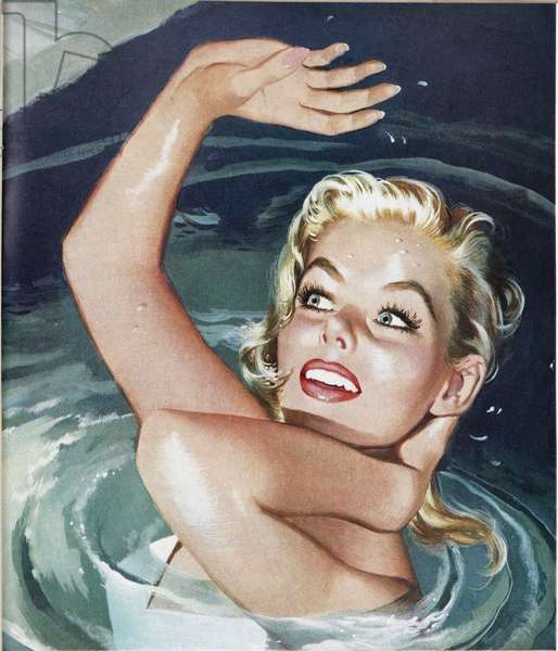 Illustration from a women's magazine, 1954 (colour litho)