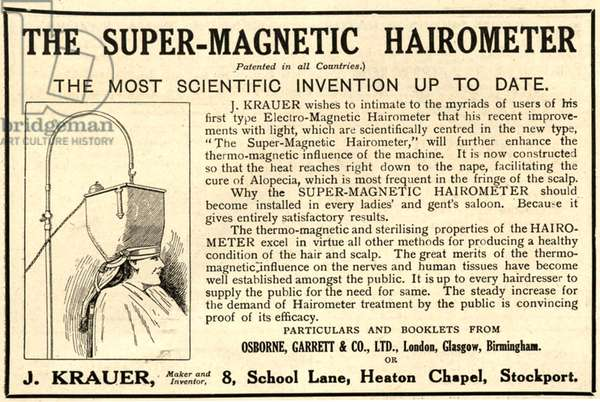 Advertisement for 'The Super-Magnetic Hairometer', 1920s (litho)