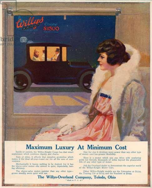 Willys-Overland Magazine Advert, 1916 (colour litho)