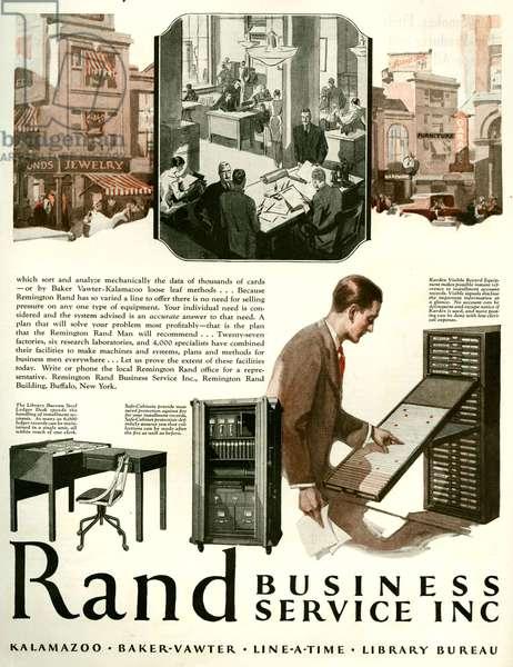Remington Rand Magazine Advert, 1928 (colour litho)
