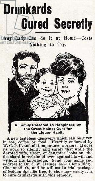 Advertisement for 'Dr. Haines' Alcoholism Cures', 1911 (litho)