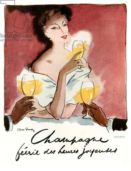 Champagne Perrier Deux Joyeux Magazine Plate, 1948 (colour litho)