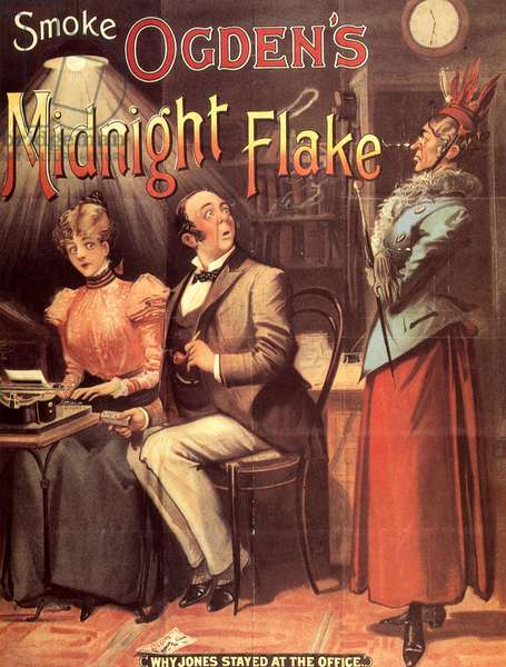 'Why Jones Stayed at the Office', advertisement for 'Ogden's Midnight Flake' (colour litho)