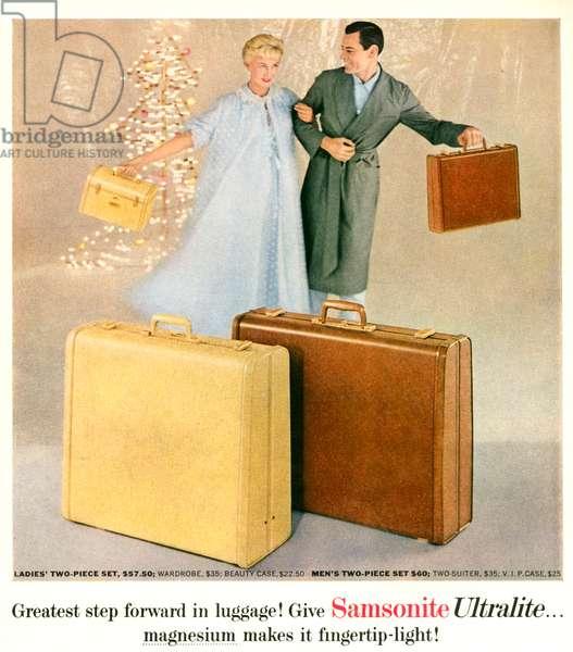 Samsonite Magazine Advert, 1950s (colour litho)