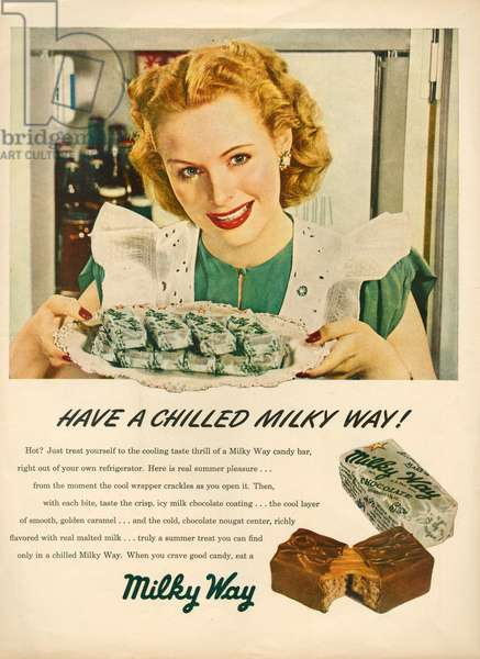 Milky Way Magazine Advert, 1930s (colour litho)