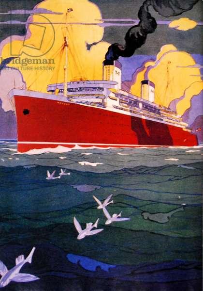 SS Malolo of the Matson Line, 1920s-30s (colour litho)