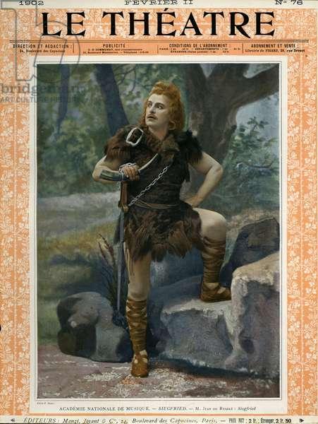 Jean de Reszke as Siegfried, front cover of 'Le Theatre' magazine, 1902 (colour litho)