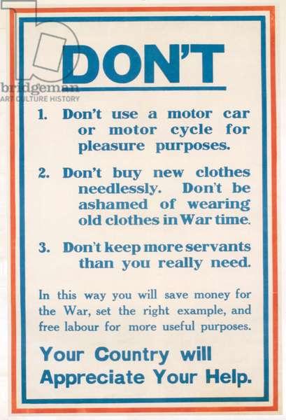 WWI Propaganda Poster, 1915 (colour litho)