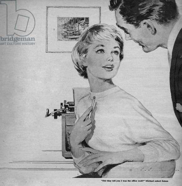 Illustration from magazine, 1950s (litho)