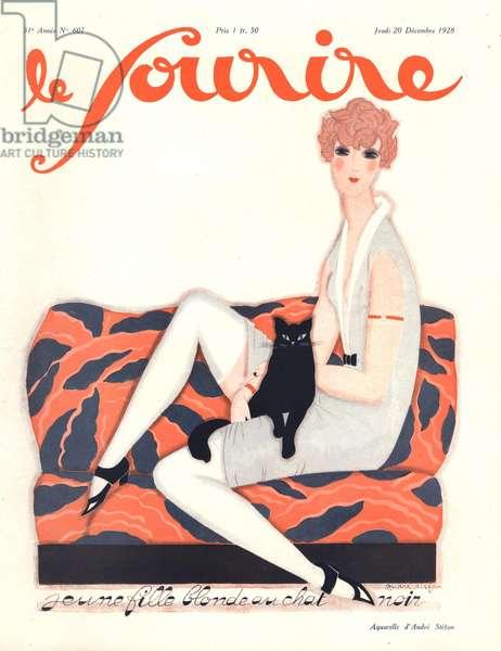 Front cover of 'Le Sourire', December 1928 (colour litho)