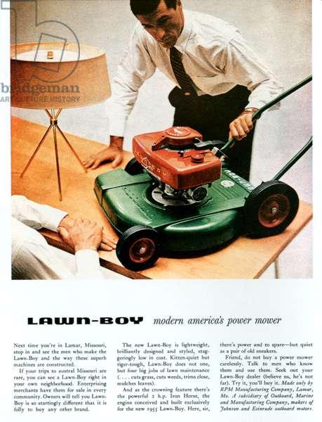 Lawn Boy Magazine Advert, 1954 (colour litho)